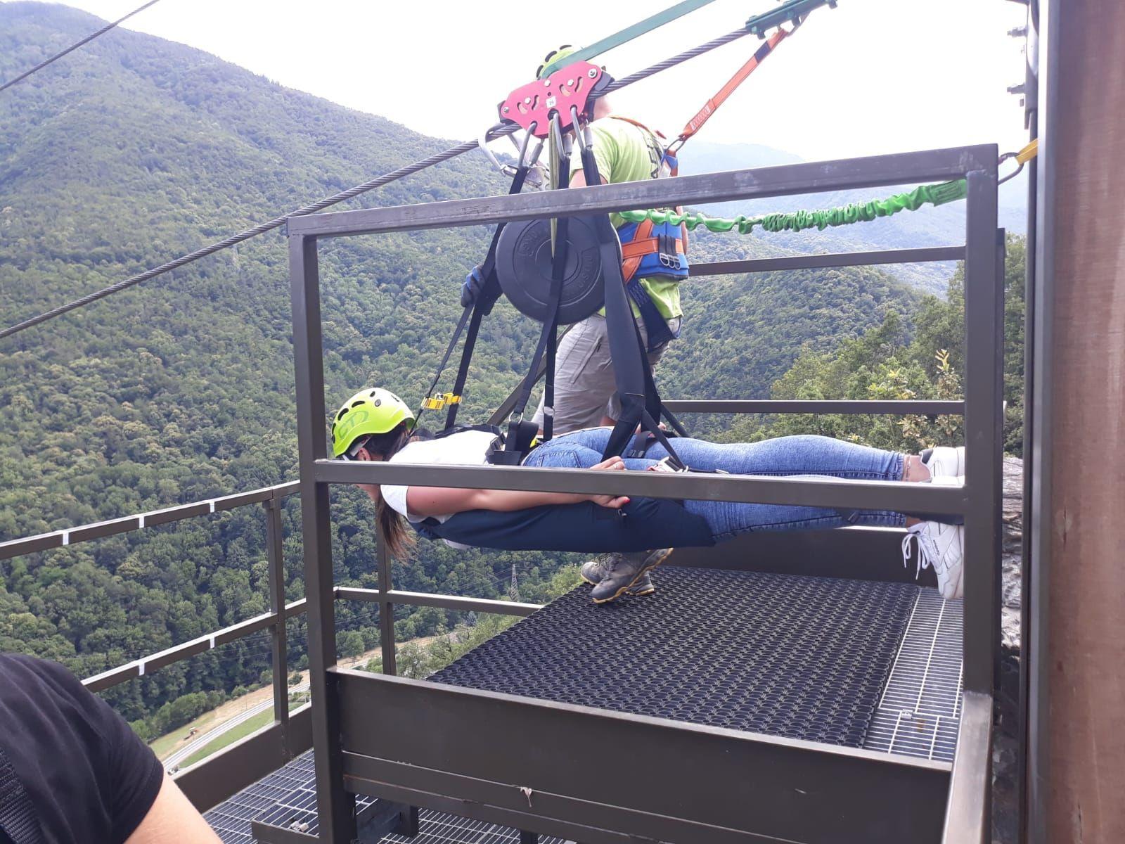Volo in zipline a Pomaretto in Val Germanasca